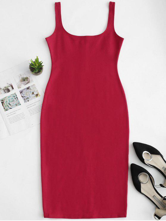 Vestido de tanque de lápis de pescoço u - Vermelho L