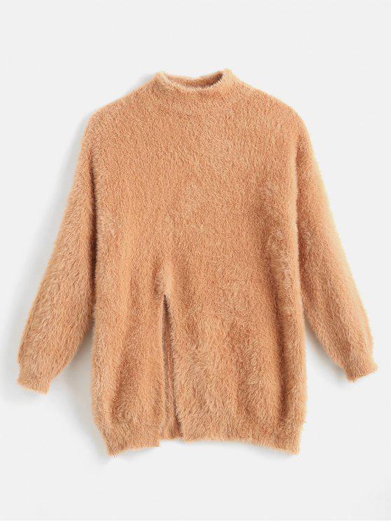 women's Mock Neck Front Slit Fluffy Sweater - ORANGE SALMON ONE SIZE