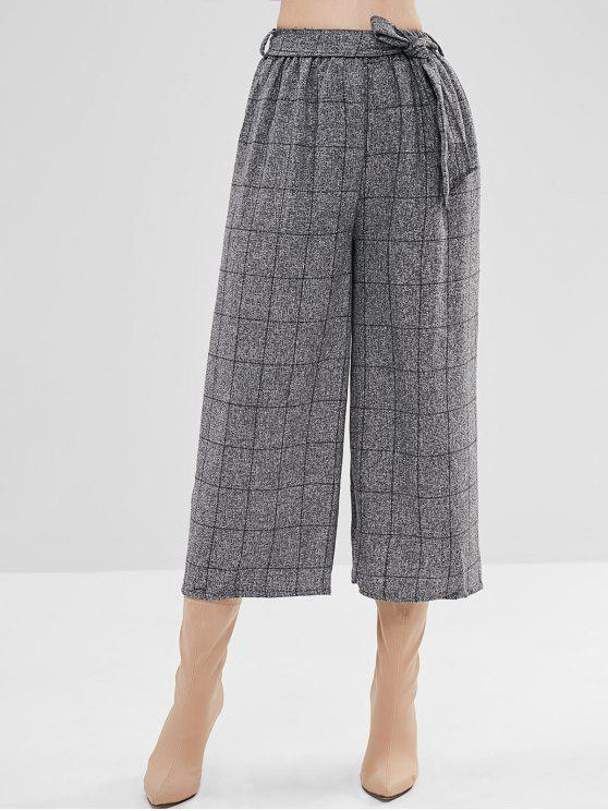 unique Belted Checked Wide Leg Pants - GRAY ONE SIZE
