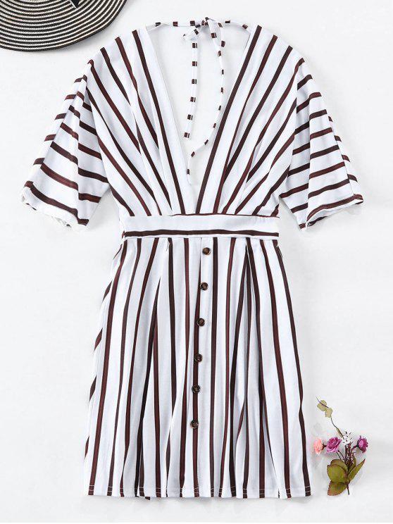 Vestido de corte bajo a rayas con botones - Blanco L