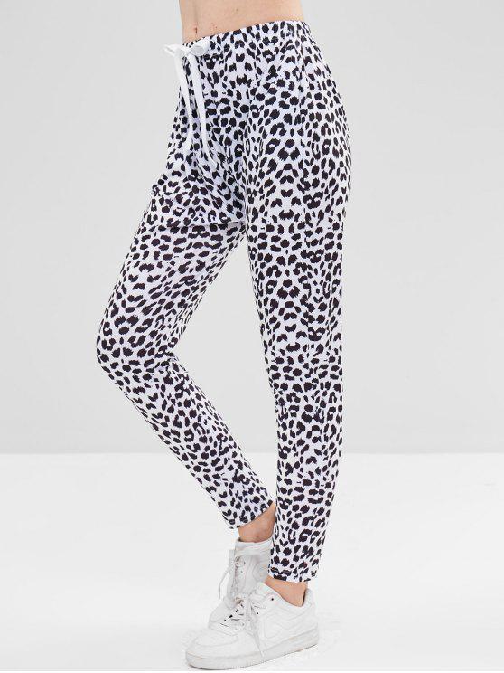 Pantalones pitillo con estampado de vaca - Blanco XL