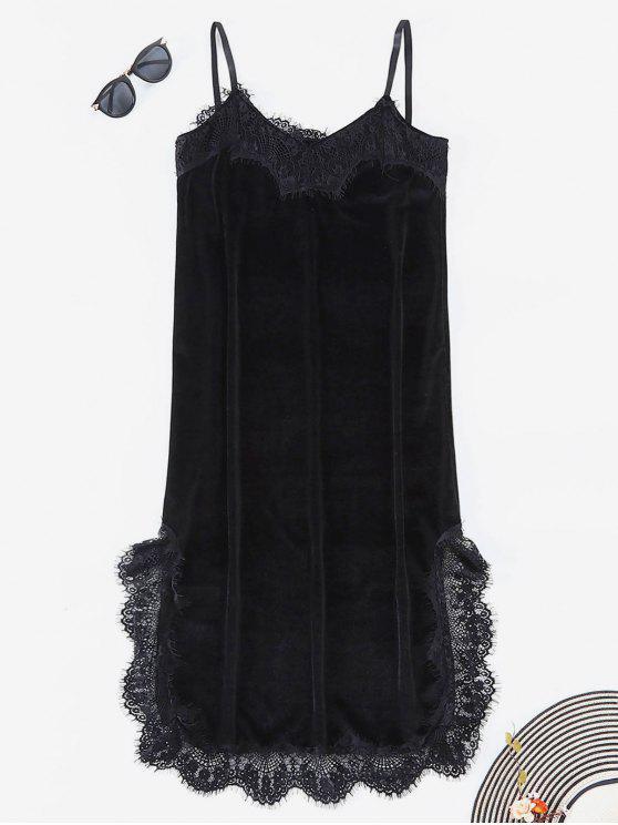 hot Lace Trim Velvet Slip Dress - BLACK L