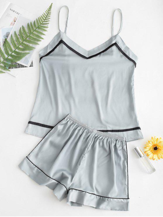 Conjunto de pijama con top y pantalón corto de satén calado - Verde Oscuro de Mar L