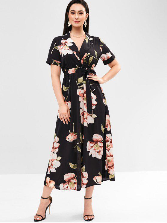 Vestido De Cintura Imperio Floral Surplice Black