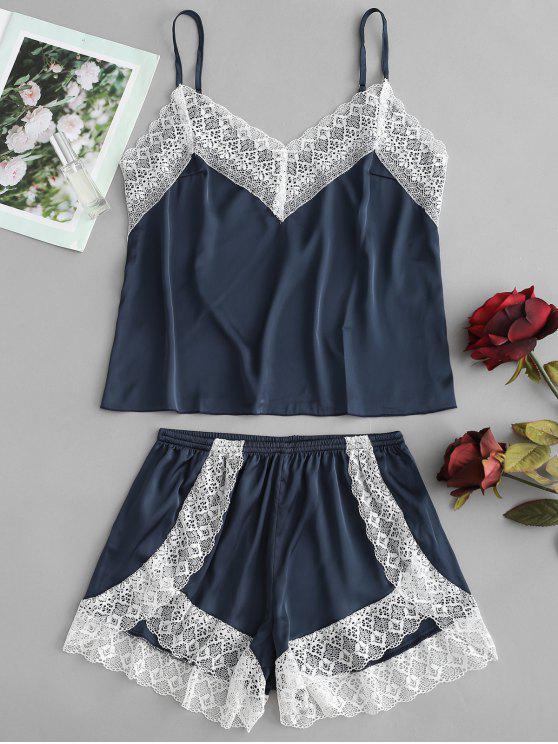 Conjunto de pijama de satén Cami Top y pantalón corto de pierna - Azul Eléctrico M
