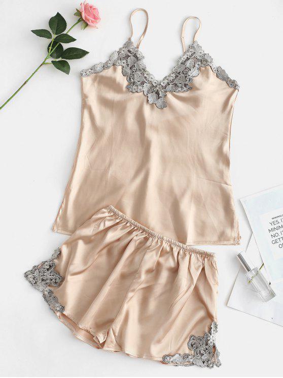 Kontrast-Spitze Satin Cami Top und Shorts Pyjama Set - Champagner Gold L
