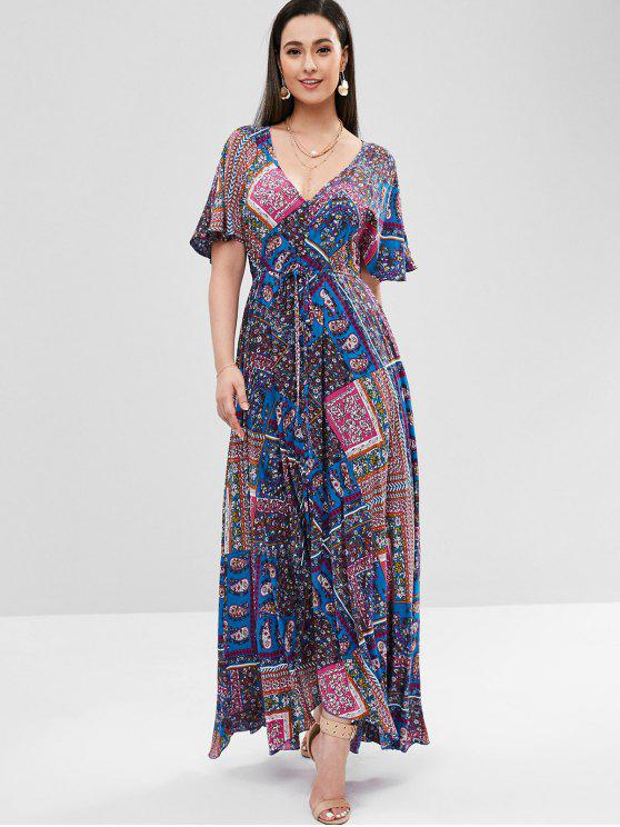 fancy Flower Butterfly Sleeve Maxi Dress - SAPPHIRE BLUE S