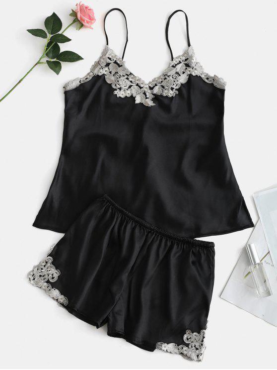 Kontrast-Spitze Satin Cami Top und Shorts Pyjama Set - Schwarz L