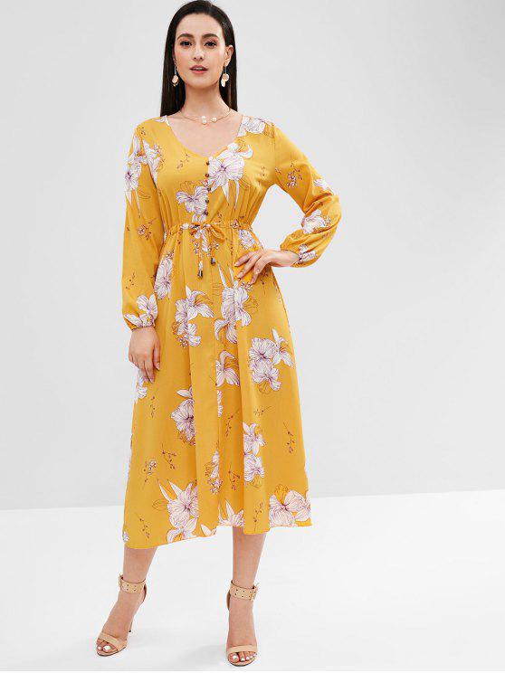 Vestido Midi De Manga Larga Floral Yellow