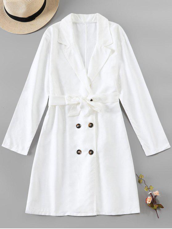 fancy Button Up Belted Longline Blazer - WHITE M