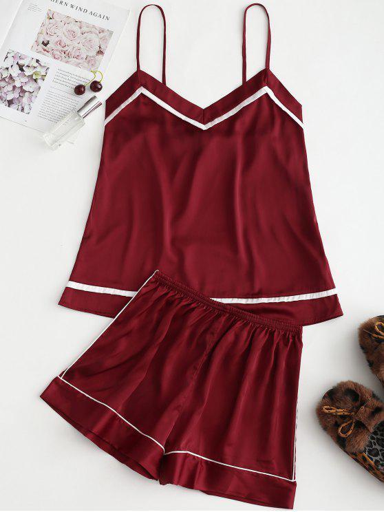 Piped Satin Cami Top und Shorts Pyjama Set - Roter Wein 2XL