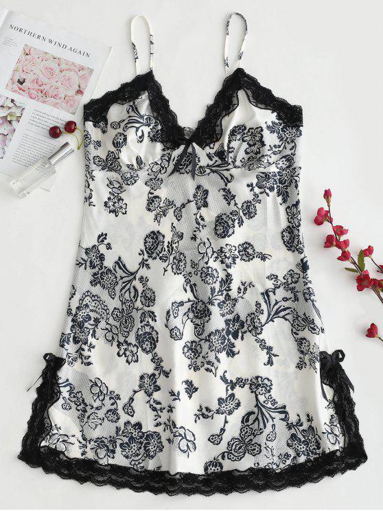 Vestido de satén con estampado floral y satén - Multicolor L