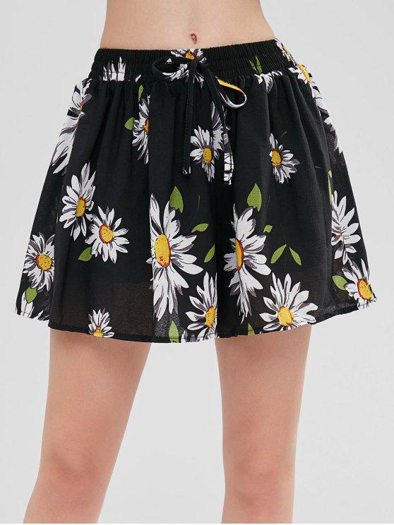 Ziehen Sie an Swingy Sunflower Print Shorts - Schwarz XL