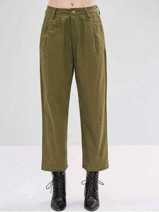 Pantalones de pierna ancha de sarga de talle alto - Ejercito Verde L