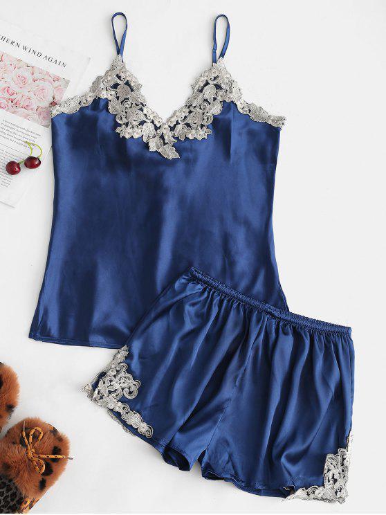 Conjunto de pijama con top de encaje y top de satén y encaje - Azul Marino XL