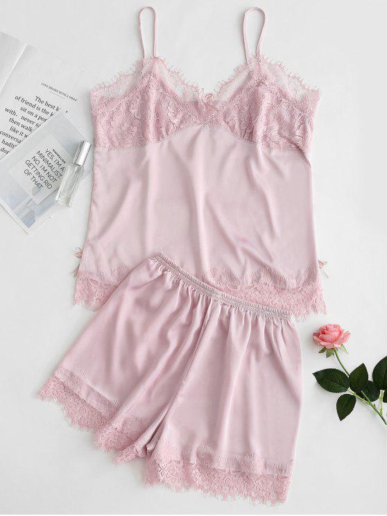 Satin Cami Top und Shorts Pyjama Set - Pink M