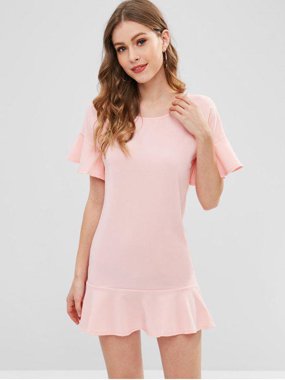 women Ruffle Trim Tunic Dress - PINK BUBBLEGUM S