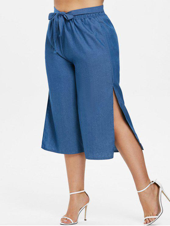 Side Slit Plus Size Gaucho Pants - ضوء صلب أزرق 2X