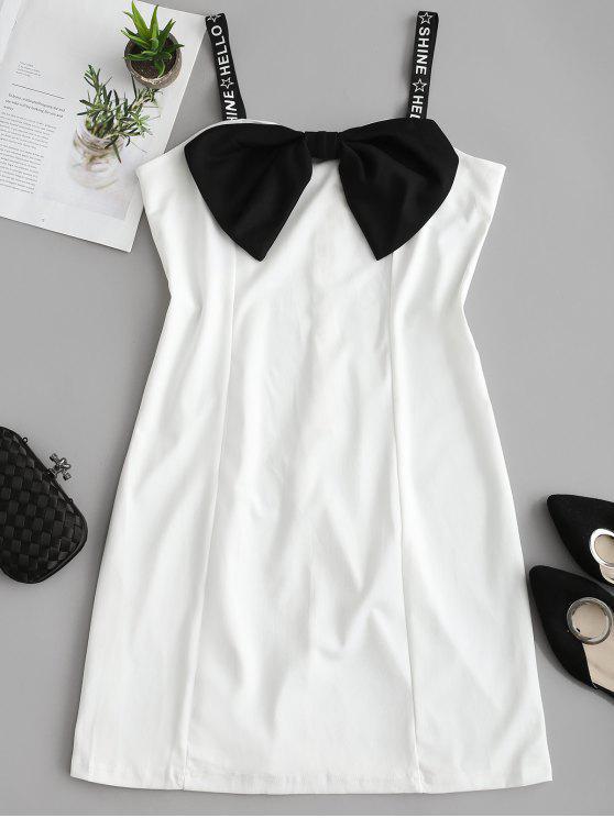 sale Graphic Strap Contrast Bow Bodycon Dress - WHITE L