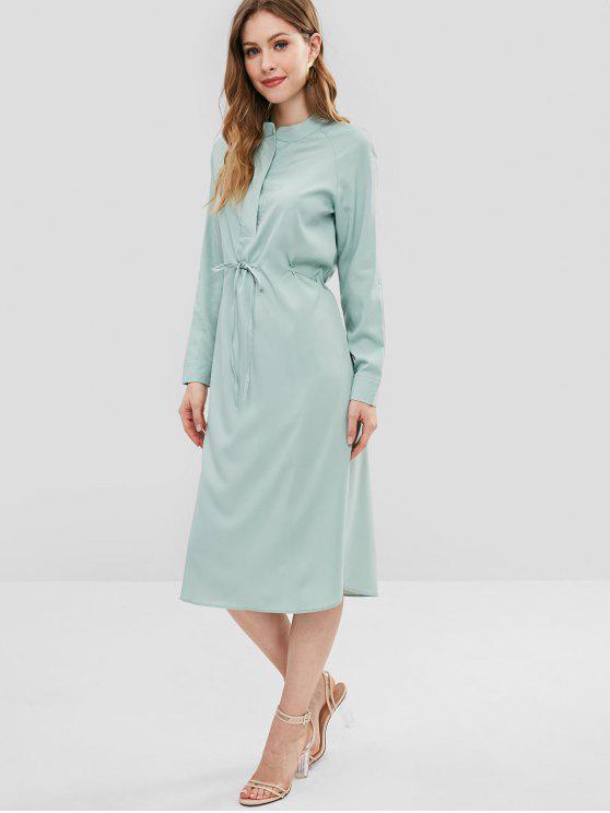 Vestido de Camisa con Abertura Lateral - Verde de Rana Talla única