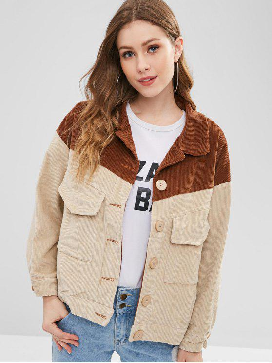 lady Color Block Corduroy Jacket - BROWN S