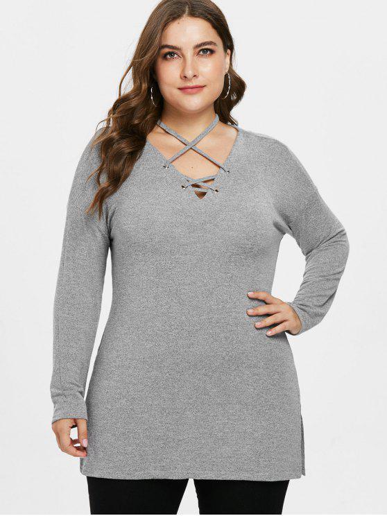 Lattice Plus Size Tunika Pullover - Grau 3X