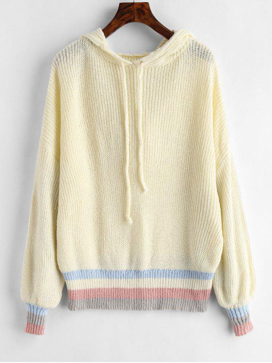 shops Stripes Panel Hooded Sweater - WARM WHITE ONE SIZE