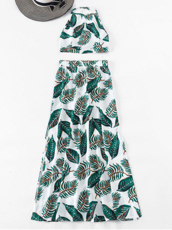 Serie de Falda y Superior de Hojas Escotado por Detrás - Verde L
