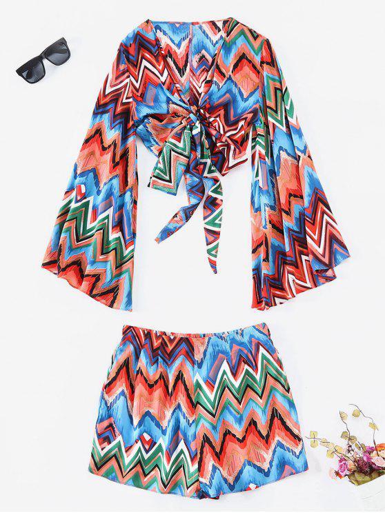Farbige Zickzack-Wrap Top und Shorts Co Ord Set - Multi M