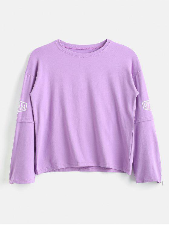 trendy Zip Sleeve Jersey Crewneck Graphic Sweatshirt - PURPLE S