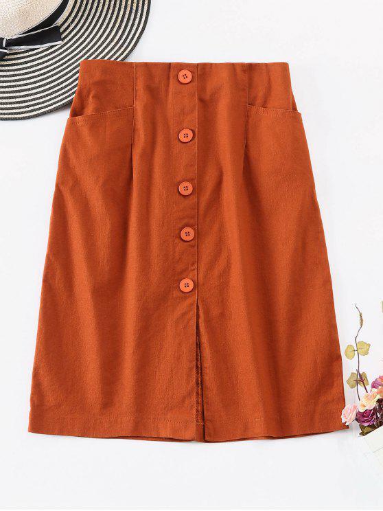 womens Slit Buttoned A Line Skirt - LIGHT BROWN M
