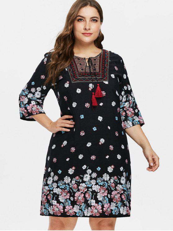 Plus Size Blumen Bauer Kleid - Schwarz 3X