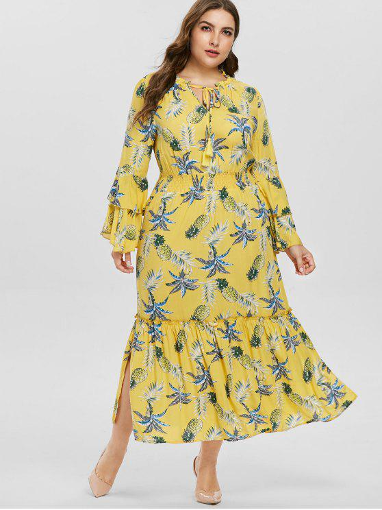 unique Flare Sleeve Plus Size Pineapple Print Dress - CORN YELLOW 1X