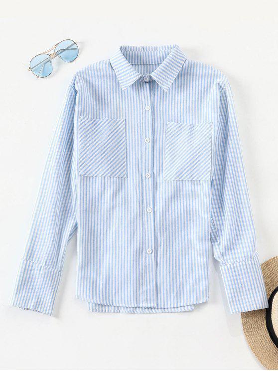 Taschen gestreiftes Hemd - Helles Blau L
