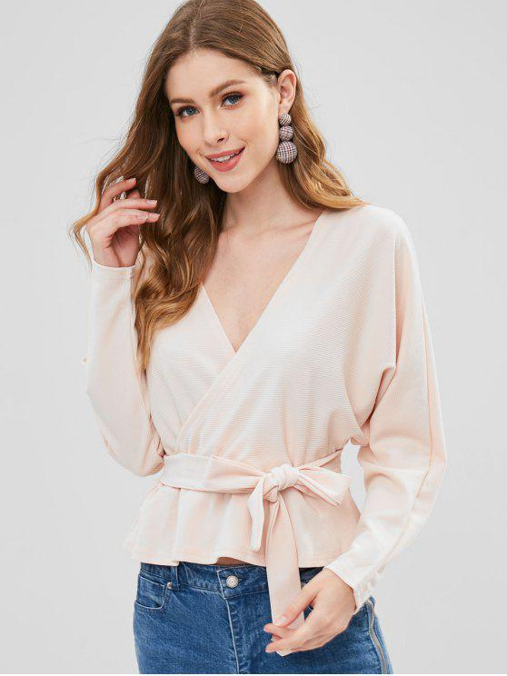 Open Back Long Sleeve Belted Blouse - Blanched Almond