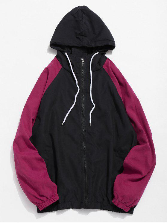 women Color Block Letter Lightweight Jacket - BLACK M