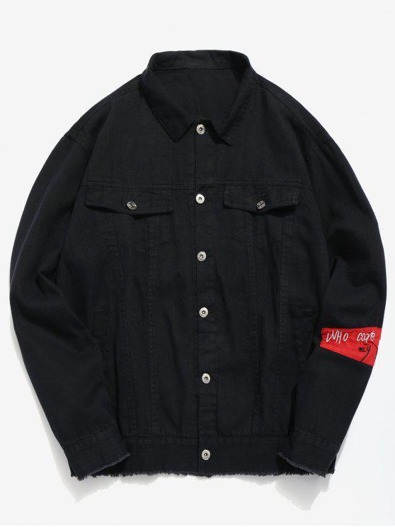 sale Casual Clown Print Denim Jacket - BLACK XL