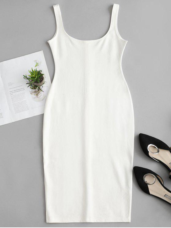 Vestido de tanque de lápis de pescoço u - Branco L
