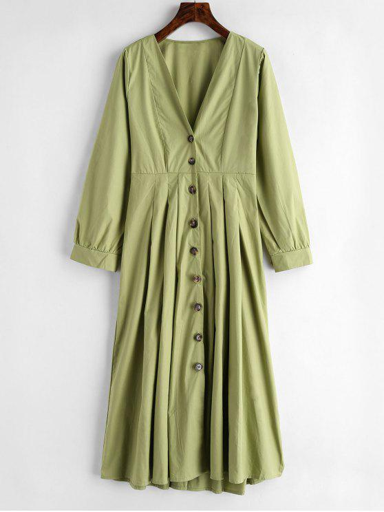 shops Button Up Plunge Midi Shirt Dress - GREEN PEAS S
