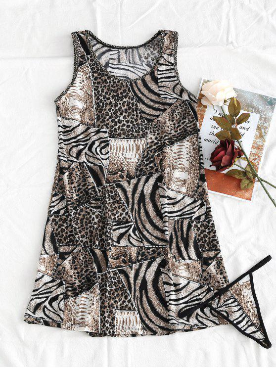 affordable Animal Clashing Print Tank Dress With Thong Panty - MULTI ONE SIZE