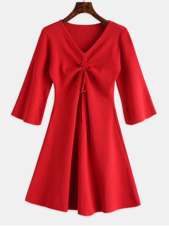 chic V Neck Cinched Knitted Dress - RED ONE SIZE
