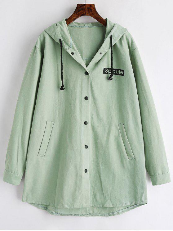 fancy Graphic Hooded Coat - DARK SEA GREEN S