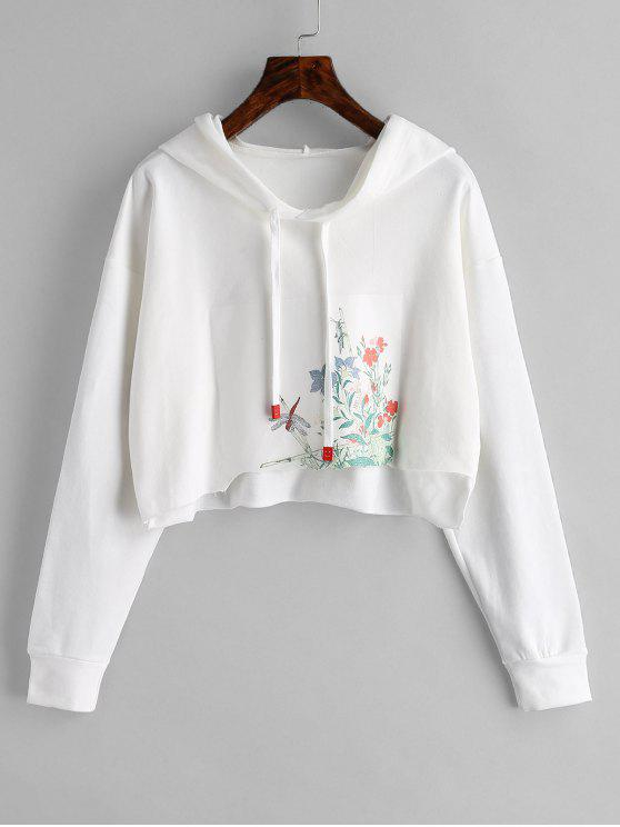 chic Cutout Floral Graphic Cropped Hoodie - WHITE ONE SIZE