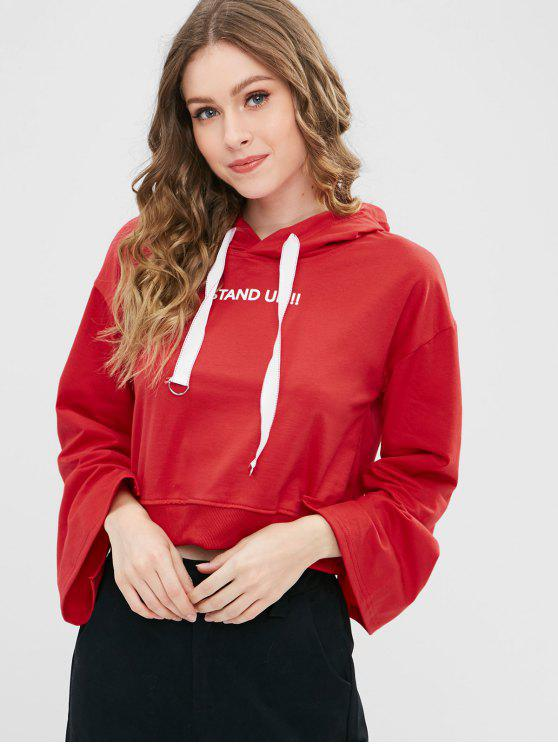 unique D Ring Drawstring Graphic Cropped Hoodie - RED S