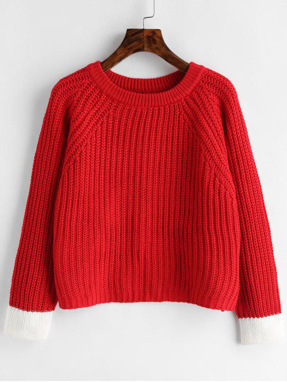 fancy Back Slit Chunky Sweater - RED ONE SIZE