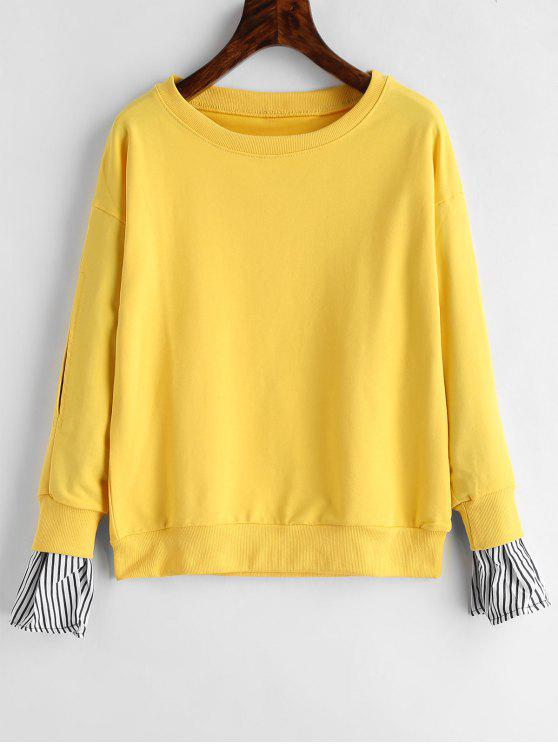 affordable Stripe Sleeves Pullover Sweatshirt - YELLOW S