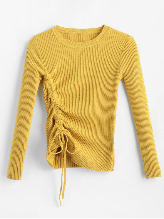 women Ribbed Side Drawstring Jumper - BRIGHT YELLOW ONE SIZE