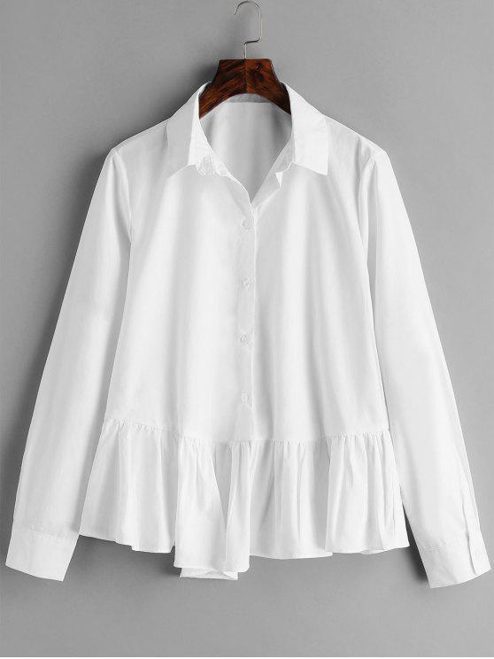 fashion Cotton Flounce Peplum Shirt - WHITE M