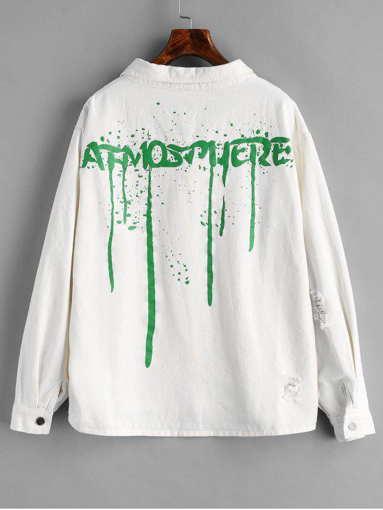 online Distressed Back Graphic Denim Jacket - WHITE M
