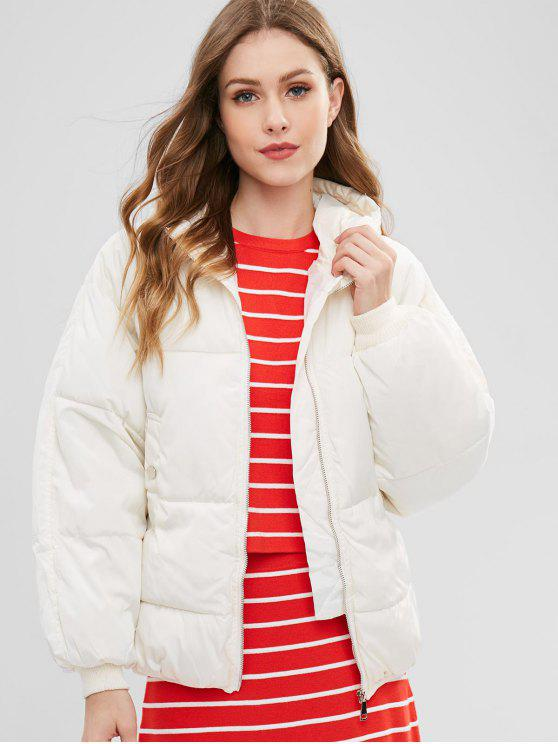 women's Hooded Quilted Winter Jacket - WARM WHITE L